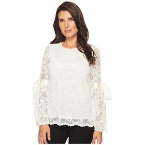 NWT Vince Camuto Tie Cuff Bubble Sleeve Lace Top